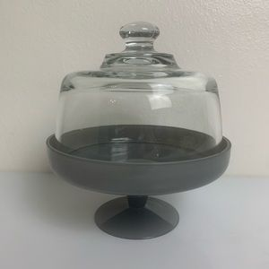 Gray Glass Pedestal Cheese Tray Clear Glass Dome
